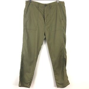 THE GREAT. Olive Green Button Fly Pants Size 28
